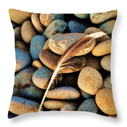 Feather Throw Pillow featuring the photograph Hard Landing by Frank Larkin
