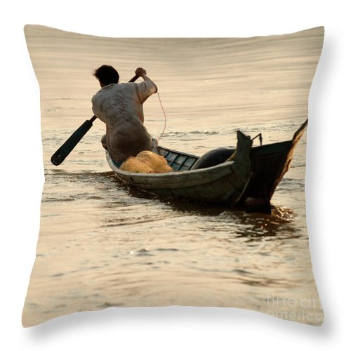 Mekong Throw Pillow featuring the photograph Hard Work by Bob Christopher