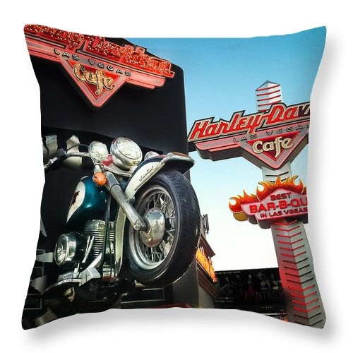 Harley Davidson Throw Pillow featuring the photograph Harley Davidson Cafe Las Vegas by Debbie Karnes