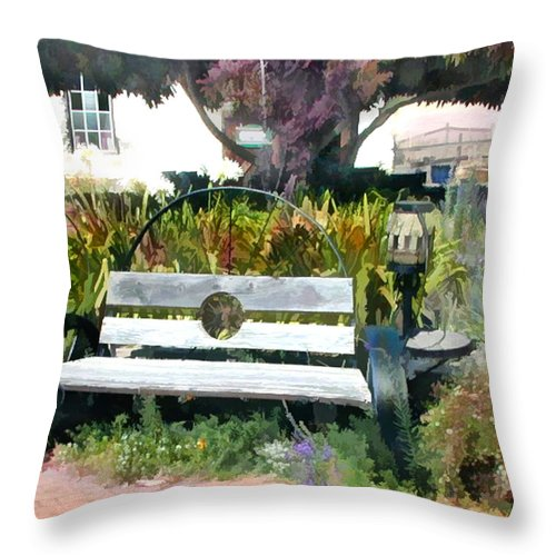 Throw Pillow featuring the painting Harmony Gallery Garden by Elaine Plesser