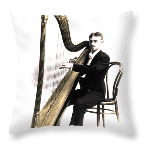 Harpist Throw Pillow featuring the photograph Harp Player by Andrew Fare