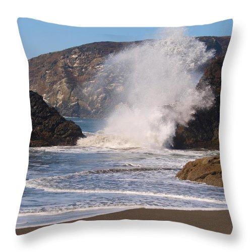 Blue Throw Pillow featuring the photograph Harris Beach Sprayed by Teri Schuster