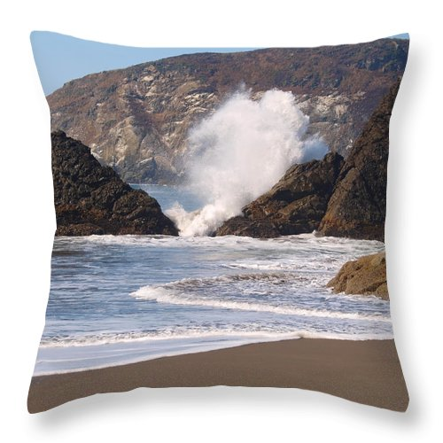 Blue Throw Pillow featuring the photograph Harris Beach by Teri Schuster