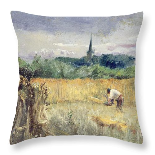 Harvest Field Throw Pillow featuring the painting Harvest Field At Stratford Upon Avon by John William Inchbold