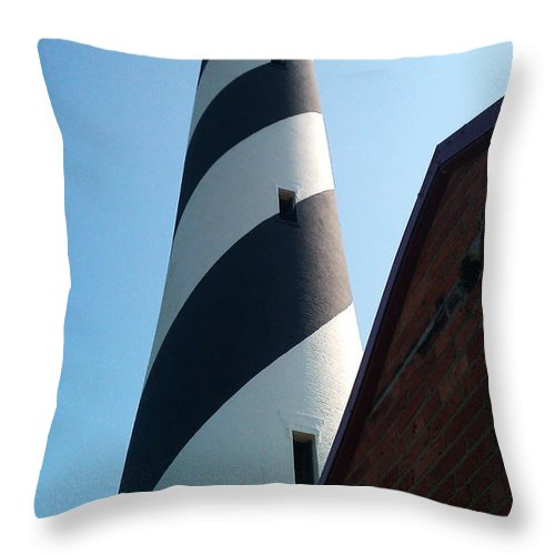 Hatteras Throw Pillow featuring the photograph Hatteras Light by Tony Cooper