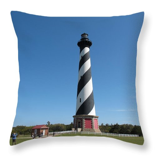 Cape Hatteras Throw Pillow featuring the photograph Hatteras Lighthouse by Mary Ellen Mueller Legault