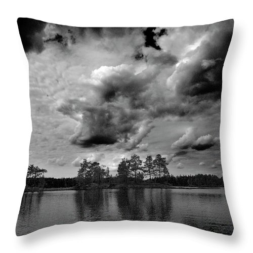Haukkajärvi Throw Pillow featuring the photograph Haukkajarvi Bw by Jouko Lehto