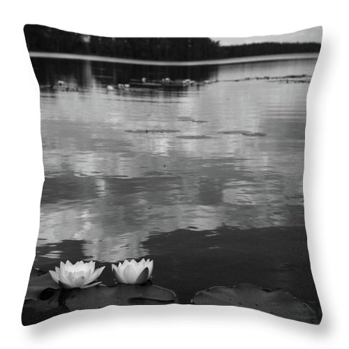 Lehtokukka Throw Pillow featuring the photograph Haukkajarvi Water Lilies In Bw by Jouko Lehto