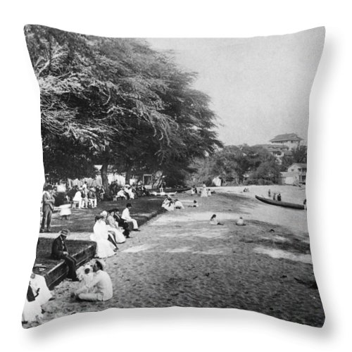 1914 Throw Pillow featuring the photograph Hawaii: Beach, C1914 by Granger