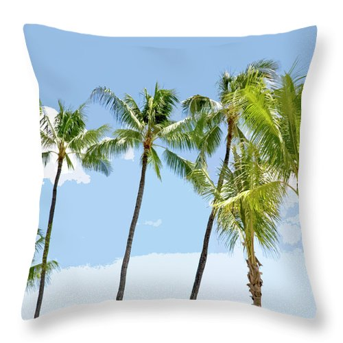 Hawaii Throw Pillow featuring the painting Hawaiian Palm Trees by Glennis Siverson