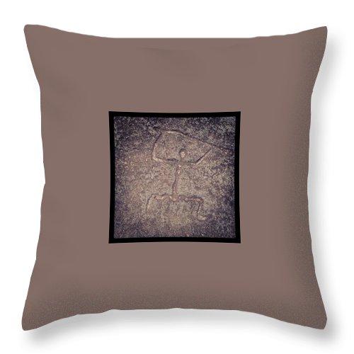 Landscape Throw Pillow featuring the photograph Hawaiian Petroglyph by Darice Machel McGuire