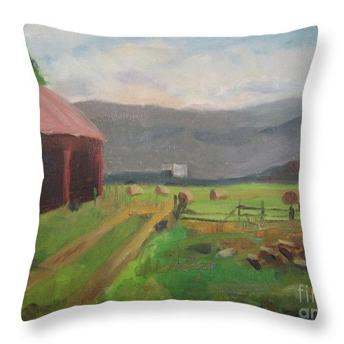 Colorado Throw Pillow featuring the painting Hay Day Farm by Lilibeth Andre