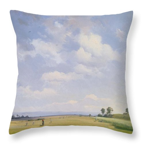 Hay; Farming; Agriculture; Peaceful; Serene; Serenity; Rural; Country Life; Clouds Throw Pillow featuring the painting Haymaking by August Albert Zimmermann