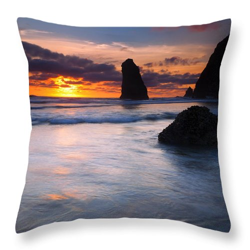 Haystack Rock Throw Pillow featuring the photograph Haystack Sunset by Mike Dawson