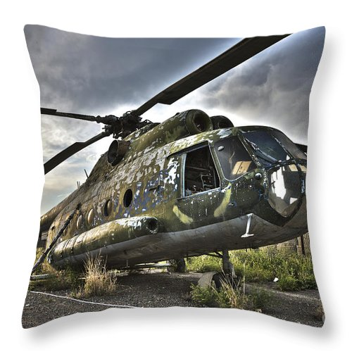 Helicopter Throw Pillow featuring the photograph Hdr Image Of An Afghanistan National by Terry Moore