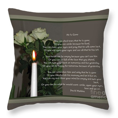 Sympathy Throw Pillow featuring the photograph He Is Gone by Ausra Huntington nee Paulauskaite