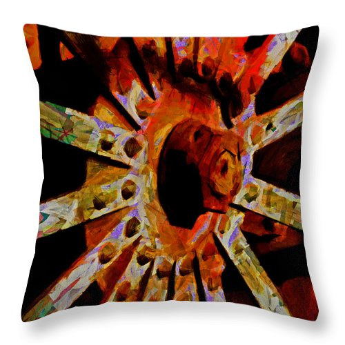 Coloring The Wheels Of The World Throw Pillow featuring the digital art He Spoke Of Colours And Textures by Steve Taylor