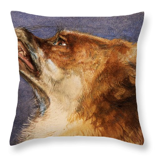 Fox Throw Pillow featuring the pastel Head Of A Fox by John Frederick Lewis
