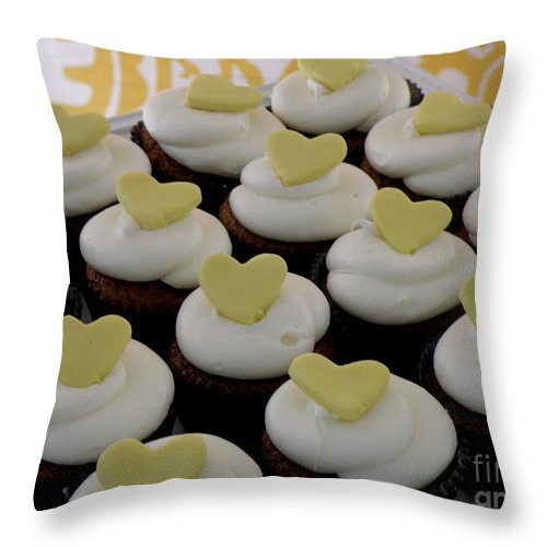 Hearts Throw Pillow featuring the photograph Heart Cupcakes by Lainie Wrightson