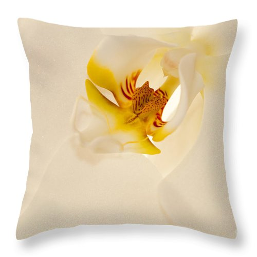 Bronstein Throw Pillow featuring the photograph Heart Of The Orchid by Sandra Bronstein