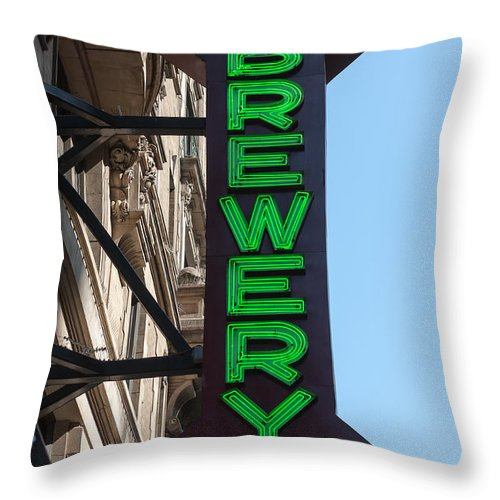 Clarence Holmes Throw Pillow featuring the photograph Heartland Brewery Chophouse by Clarence Holmes