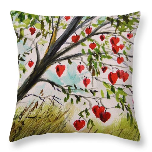 Watercolor Throw Pillow featuring the painting Hearts Grow On Trees by John Williams
