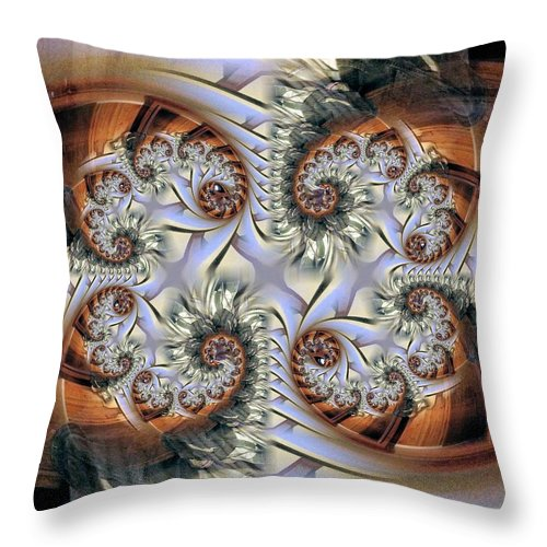 Abstract Throw Pillow featuring the digital art Hearts Metallica by Ron Bissett
