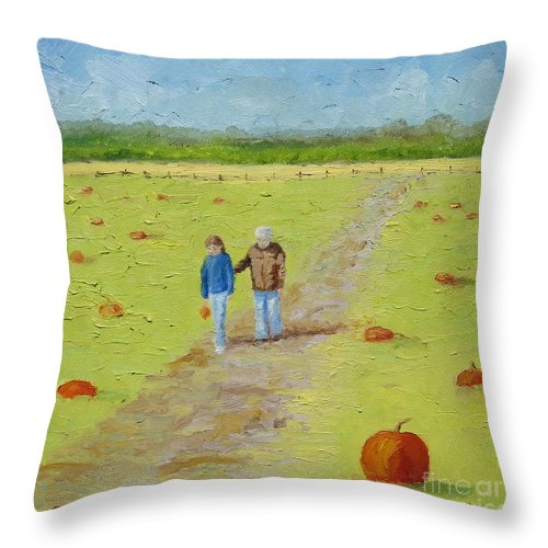 None Such Farms Throw Pillow featuring the painting Heather And Poppy Pumpkin Picking by Cindy Roesinger