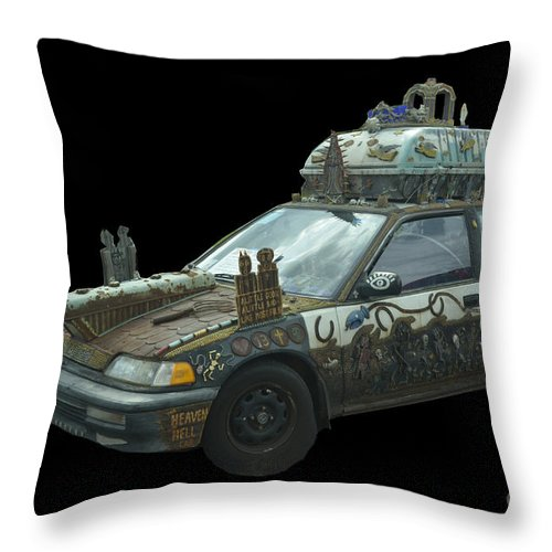 Car Throw Pillow featuring the photograph Heaven Or Hell Car by Donna Brown