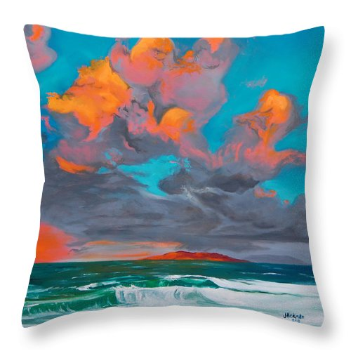 Seascape Throw Pillow featuring the painting Hebridean Glory by Jennifer Hickman