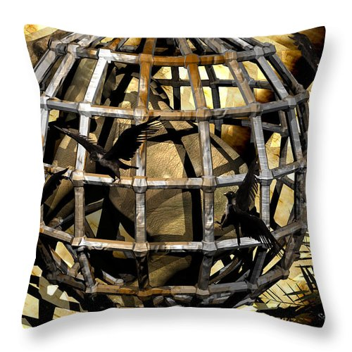 Elephant Throw Pillow featuring the digital art Help Is On The Way by Robert Orinski