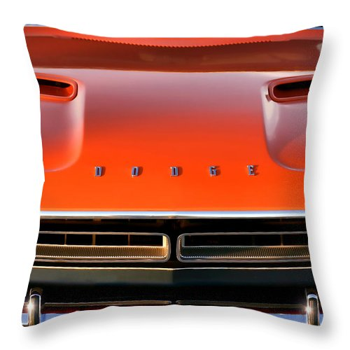 1971 Throw Pillow featuring the photograph Hemi Orange 1971 Dodge Challenger by Gordon Dean II