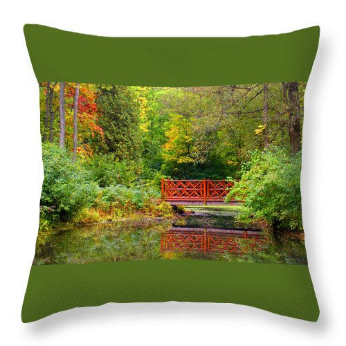 Park Photograph Throw Pillow featuring the photograph Henes Park Pond Bridge by Ms Judi