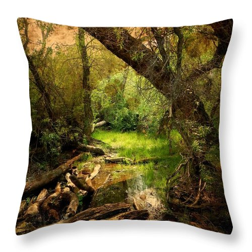Forest Throw Pillow featuring the photograph Here There Be Gnomes by Leah Moore