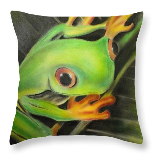 Frog Throw Pillow featuring the pastel Here's Lookin' At Ya by Scott Easom