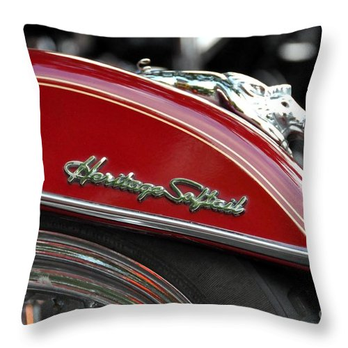 Harley Davidson Throw Pillow featuring the photograph Heritage Softail by John Black