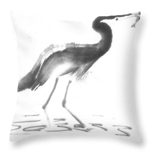 Bird Throw Pillow featuring the painting Heron by Ellen Miffitt