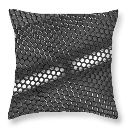 Black And White Throw Pillow featuring the photograph Hexagon Lights by Anna Villarreal Garbis