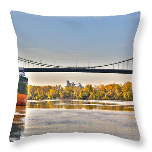 Toledo Ohio Throw Pillow featuring the photograph Hi-level Bridge by Jack Schultz