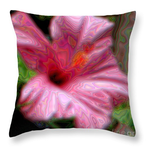 Hibiscuses Throw Pillow featuring the photograph Hibiscus With A Blurred Enamel Effect by Rose Santuci-Sofranko