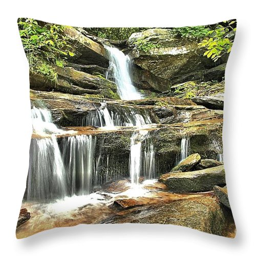 Hanging Rock State Park Throw Pillow featuring the photograph Hidden Falls At Hanging Rock by Adam Jewell