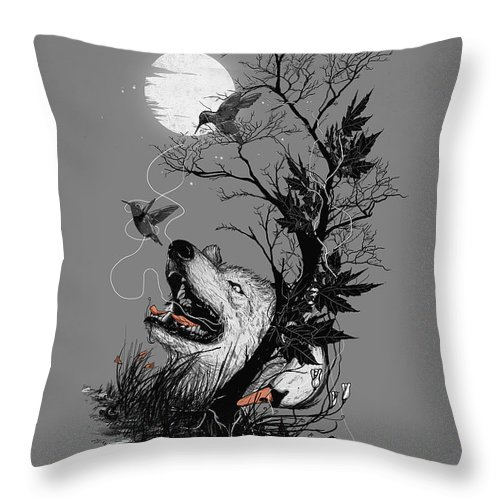 Wolf Throw Pillow featuring the mixed media Hide by Nicebleed