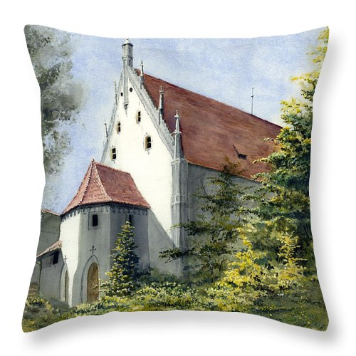 Germany Throw Pillow featuring the painting High Castle Courtyard by Sam Sidders