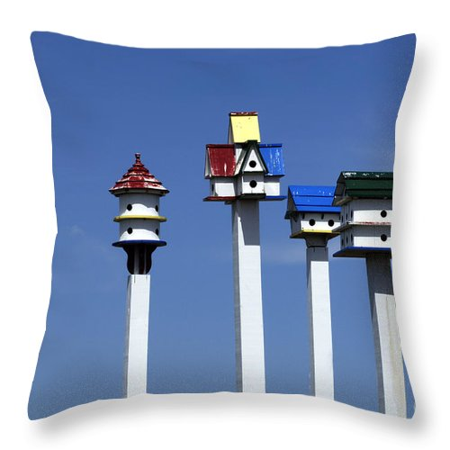 Bird Houses Throw Pillow featuring the photograph High Rent District by Bob Christopher