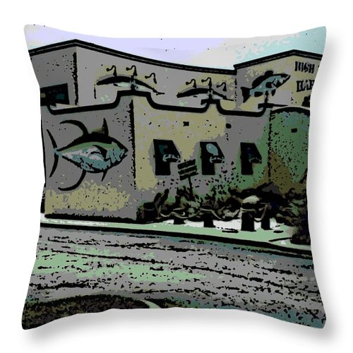 High Throw Pillow featuring the photograph High Tide Harry's by George Pedro