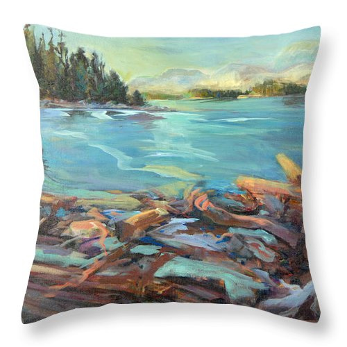 Seascape Throw Pillow featuring the painting Highest Tide Rebecca Spit by Nanci Cook