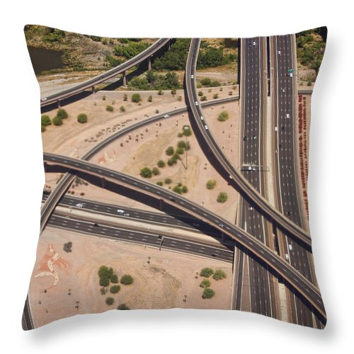 Roads Throw Pillow featuring the photograph Highway Planet Art by James BO Insogna