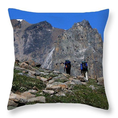 Hikers Throw Pillow featuring the photograph Hiking In Jasper by Vivian Christopher