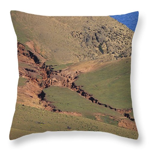 Hummocky Throw Pillow featuring the photograph Hillside Erosion Caused By Run by Jason Edwards