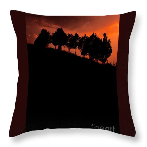 Hillside Throw Pillow featuring the photograph Hillside Silhouettes by Mike Nellums